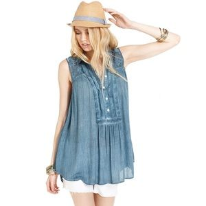 Free People Sleeveless Southwest Crinkle Tunic Top